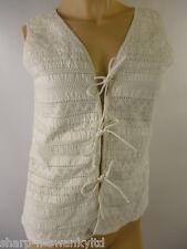 Ladies White Lace V Neck Waistcoat Style Sleeveless Vest Top UK 10 EU 38