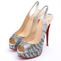 Christian Louboutin Glitter Sandals 38 Women's Silver Sole Repair