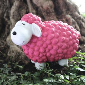 XL Gartenfigur Schaf pink 44cm Innen- und Außenbereich aus Kunststoff NEU