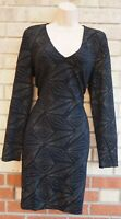 BLACK V NECK LONG SLEEVE GOLD GLITTER SPARKLY TEXTURED BODYCON PARTY DRESS XL