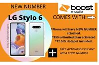 LG Stylo 6 - 64GB - Boost Mobile ACTIVATED W NEW NUMBER, 1ST MONTH INCLD