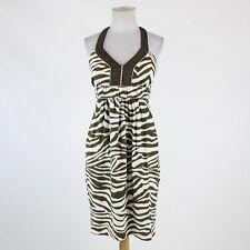 White green zebra linen BANANA REPUBLIC sheath sleeveless knee-length dress 4