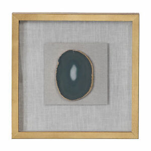 Luxe Gold White Agate Stone Slice Wall Art | Shadow Box Frame Square Sculpture