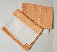Set of 2 Vintage Dan River Dantrel Orange Floral Retro Standard Pillowcases