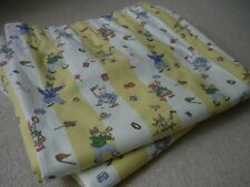 Vintage Laura Ashley Lined Curtains Yellow Stripe/Animals/Children/Nursery