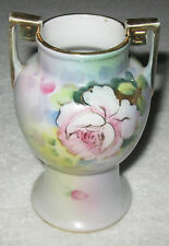 "Antique/Vintage Decorative Nippon China Vase - Flowers &  Gold Trim - 5"" Height"