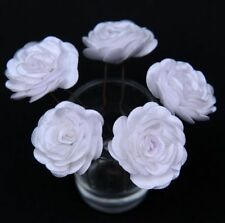 6 Bridal Wedding White Rose Flower Hair Pins Clips Grips handmade