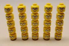 x25 NEW Lego City Minifig Head Glasses w/ Silver Sunglasses Eyebrows & Thin Grin