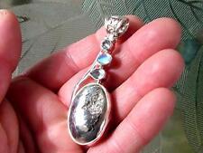 Aguamarina Piedra Luna & Bronce Druzy , Plata de Ley .925 Colgante
