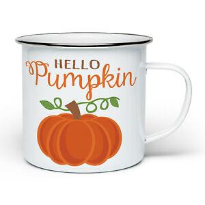 Hello Pumpkin Funny Cute Autumn Novelty Enamel Tin White Mug