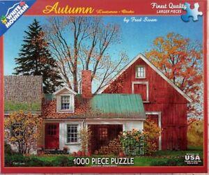 White Mountain AUTUMN #1229 Fall Farm Barn Jigsaw Puzzle 1000p 24x30 2016 F Swan