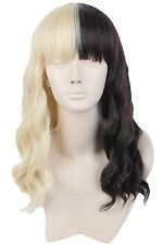 Women's Wigs Short Cosplay Half Blonde and Black Curly Hair for Melanie Martinez