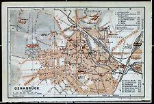 OSNABRÜCK, alter farbiger Stadtplan, gedruckt ca. 1910