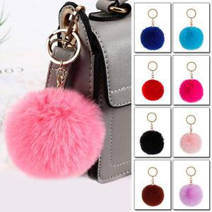 Keyring Soft Faux Fluffy Rabbit Fur HandBag Pendant Charm Pompom Keychain ca