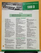 1968 International Harvester Truck  Model 1000 D Specification Sheet