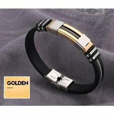 Unisex Women Men Gold Braided Leather Steel Magnetic Clasp Bracelet Handmade Hot