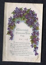Posted 1921: Illustrated Birthday Card: Flowers: Fond & True