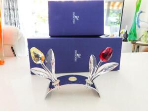 Swarovski Glass Crystal Large Tulips (2) Red & Yellow + Stand In Original Boxes