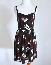 463a9101457 HOT TOPIC Floral Skulls Sweetheart Pinup Rockabilly Skater Fit   Flare Dress  XS