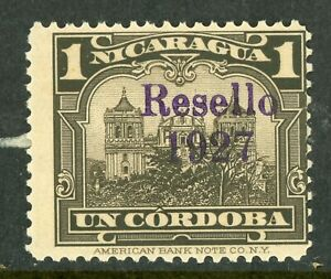 Nicaragua 1927 Cathedral Provisional 1 Cordoba Brn Blk w/Ditto Ink Mint V401 ⭐