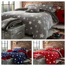 Teddy Bear Fleece Star Duvet Cover Set Fitted Sheets Warm Winter Bedding New