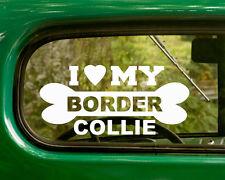 2 I LOVE MY BORDER COLLIE DOG DECALs Breed Sticker Car Truck Laptop Bumper