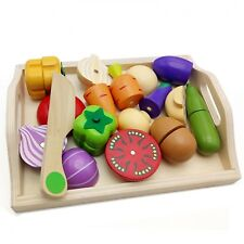 Kitchen Wooden Toy Magnet Cutting Fruit Vegetables Food Kid Preschool Education