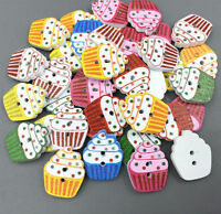 DIY Wooden Buttons Cupcakes shape Mixed color Sewing Scrapbooking 2 holes 20mm