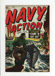 NAVY ACTION #3  F/VF - VERY RARE ATLAS WAR COMIC - GREAT COVER - 1954