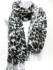 White Gray Black Blue Leopard Print Animal Spots Pashmina Shawl Wrap Scarf NEW