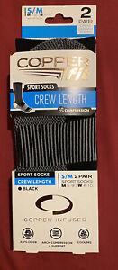Copper Fit Sports Socks 2 Pair Crew Length- Size S/M -Unisex- Men 5-9 Women 6-10