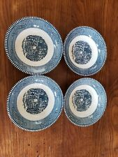 """Set of 4, Vintage Royal China, Currier and Ives """"The Old Farm Gate"""" Dessert Dish"""