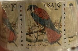 RARE 1999 1 CENT STAMPS 500 STAMP COIL ROLL ORIGINAL WRAPPING AMERICAN KESTREL