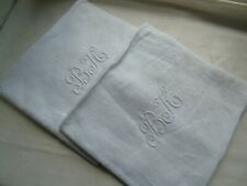 "French 2 of napkins table white cotton linens  monogrammed ""BK"" antique vintage"