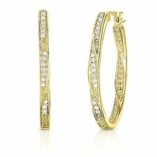 1/4 Cttw Diamond Hoop Earrings in Yellow Gold Plated Sterling Silver