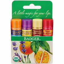 Badger Organic Classic Lip Balm Gift Set 4pcs GREEN - Calming & Moisturising