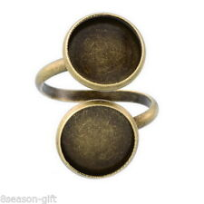 5PCs Bronze Tone Adjustable Spiral Ring Pad Bases Blanks Findings