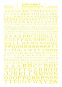 Woodland Scenics MG705 Yellow Roman RR Letters Dry Transfer Decals 1/16-5/16