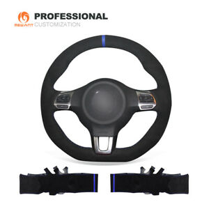 Black Suede Steering Wheel Cover for VW Golf 6 GTI MK6 Polo Scirocco R Passat CC