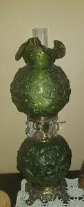 Fenton Green Hurricane Lamp, circa 1970