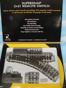 """K-Line 6-21398 O 31"""" SuperSnap Right Hand Remote Control Switch Turnout"""
