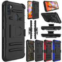 For Samsung Galaxy A11 Phone Case Shockproof Hybrid Belt Clip Stand Armor Cover