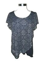 ONE WORLD Size L Shirt Top Blue Floral Textured Layer Look Short Sleeve