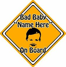 Personalised Bad Baby/Child On Board Car Sign ~ Baby Face Silhouette ~ Orange
