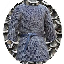 6 mm Chainmail Half Sleeve Round Riveted with Soiled Ring Medieval Black Armour