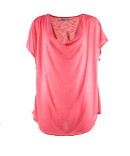 Cato Womens Top Plus 22W 24W Pink T-Shirt Drape Cap Sleeve Knit Casual $30 New