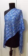 Malaysian Hand Dyed Blue & White Batik Silk 47cm X 154cm Oblong Scarf