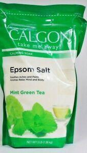 1 Bags Calgon 3 Lb Mint Green Tea Relax Mind & Body Epsom Salt Calming Soak