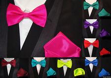 Top Joven Hombre Pajarita + Pañuelo de Bolsillo Set Boda en 30 Colores - Nuevo