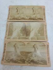 Vintage 3pc Stereoview Cards Sun Sculpture Underwood 1900